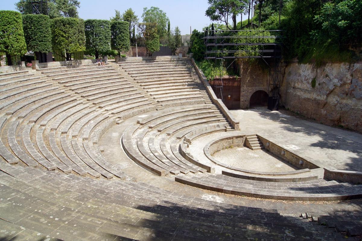 El anfiteatro del Teatre Grec, donde se celebran los espectáculos. Foto de Barcelona Film Comission.